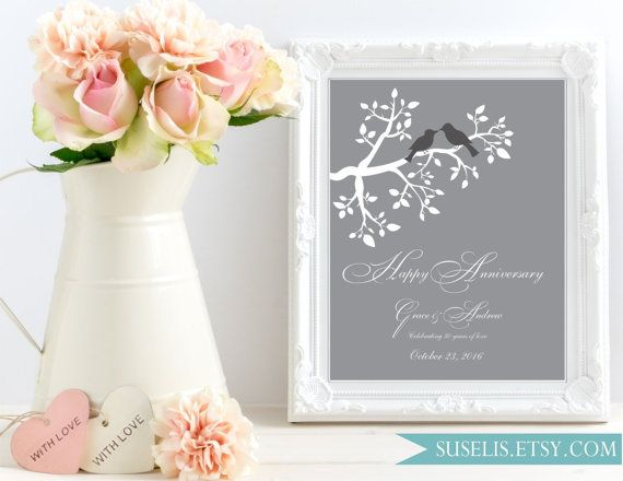 30th Anniversary Print Unique Wedding Gift Personalized by Suselis