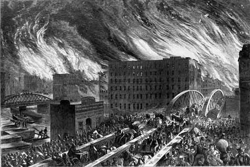 October 8, 1871: Chicago Is Set Aflame  On this day in 1871, a fire broke out in a Chicago barn, leaving 100,000 people homeless and destroy...