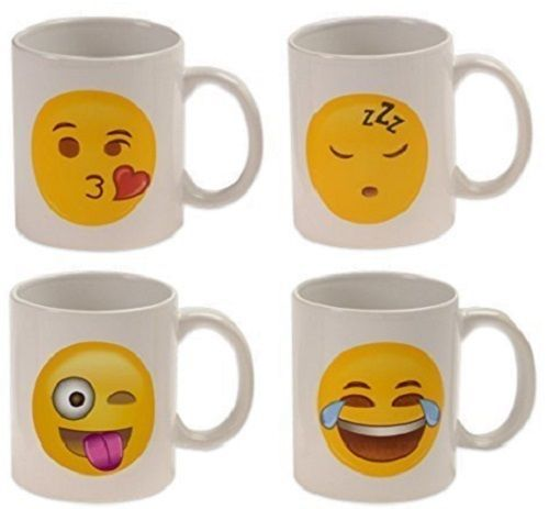 Coffee Cup Set Unique Mugs Morning Funny Emoji Universe Style Set Of 4 Cups New