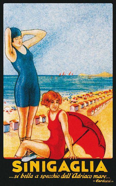 Vintage Italian Posters ~ #illustrator #Italian #posters ~ Bagni Senigallia