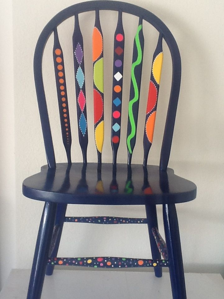 funky painted dining chairs | Painted chair dark grey op art