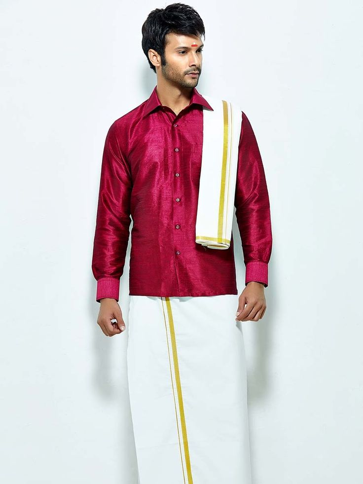 Wonderful magenta color raw silk shirt comes with white color cotton dhoti and angavastram. Item Code : SCU12002-11 http://www.bharatplaza.com/new-arrivals/south-indian-mens-wear.html