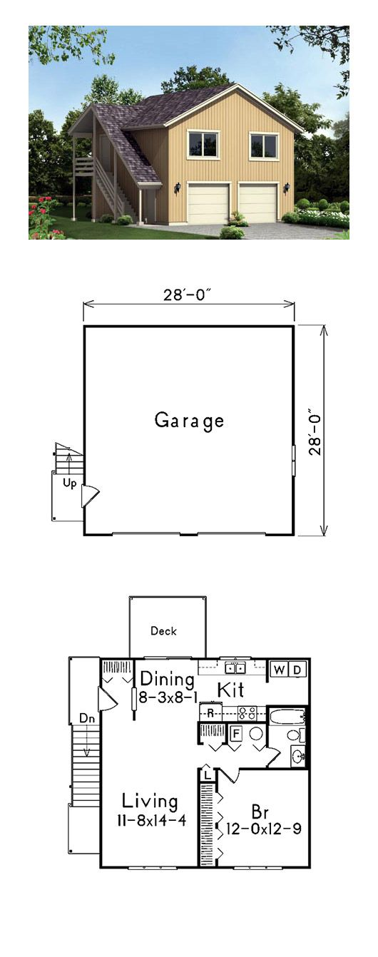 544 best garage plans images on pinterest garage for Single car garage with apartment above plans