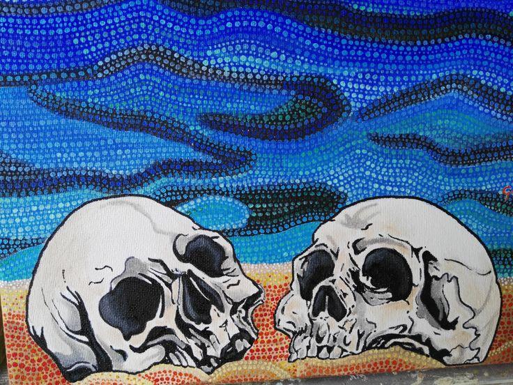 skulls on the beach di GiuliTrueLove su Etsy