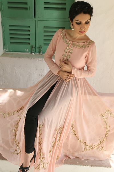 peach and gold . peach split in the middle outfit , gold work , subtle , soft , elegant , chic , friend of the bride