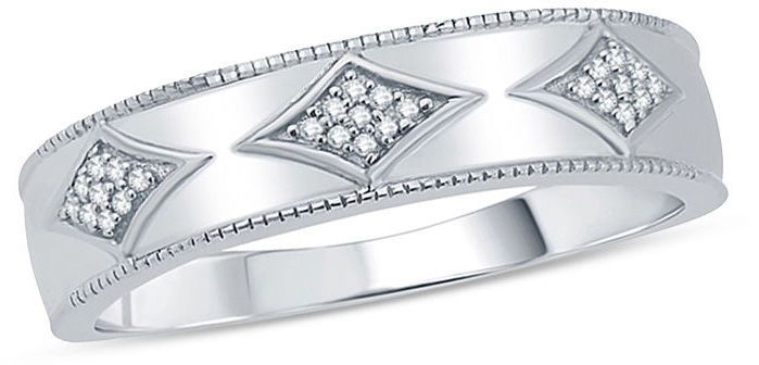 Zales Ladies Diamond Accent Kite-Shaped Station Wedding Band in 10K White Gold