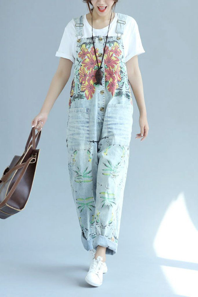 1a97796db349 Sky Blue Vintage Floral Printed Loose Denim Jumpsuits Q6512 ...
