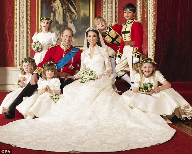 Prince William, his wife Catherine and their bridesmaids and page boys Margarita Armstrong-Jones, Miss Eliza Lopes, Miss Grace van Cutsem, Lady Louise Windsor, Master Tom Pettifer, Master William Lowther-Pinkerton