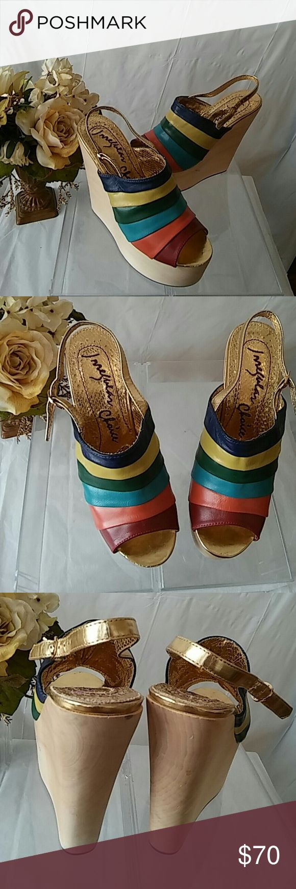 "Irregular Choice Chica Chola Rainbow Wedgies If you need to increase your height, theses shoes will do it with style! Add them to your vacation in the Island wardrobe!  The shoes look almost new.  Approximate heel height: 6"", Size: 8 Irregular Choice Shoes Wedges"