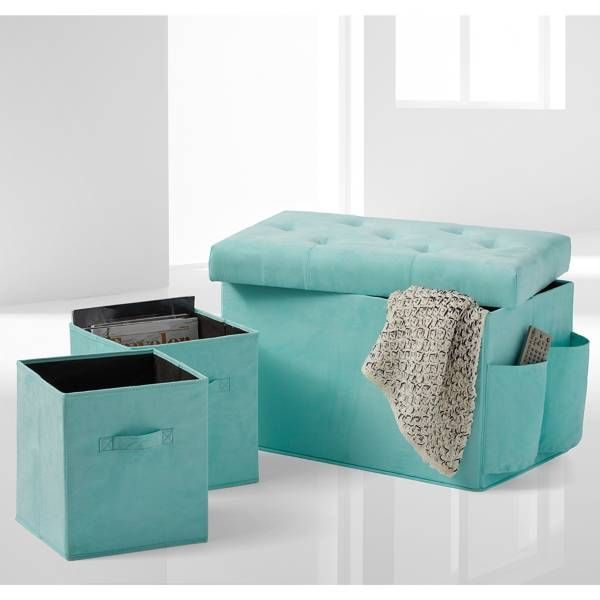$39.99, storage ottoman  Product Image for 24-Inch Folding Storage Ottoman with Two Folding Storage Cubes 1 out of 2