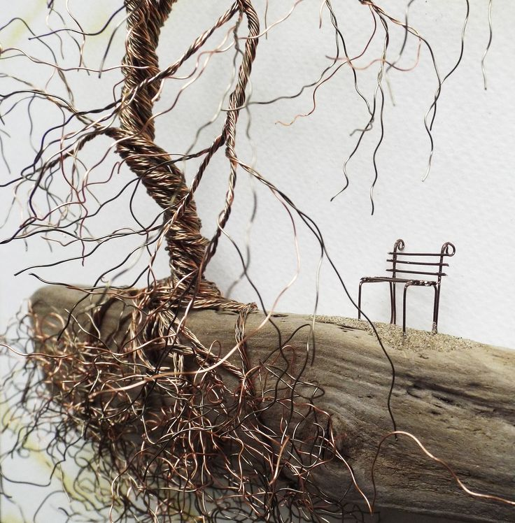 'A Quiet Place' - Twisted Copper Wire on Driftwood by The Stone Art Gallery.