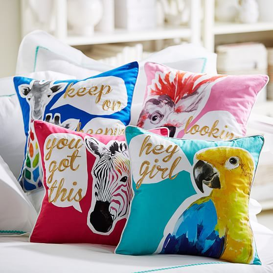 Make a bright style statement with these peppy pillow covers. Featuring superbright animal illustrations and encouraging sayings, they're a lovable addition to your space.