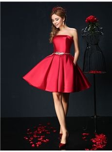 mubridal.com.au Offers You Natural A-line Short/Mini Sashes/Ribbons Red Spring Strapless Cocktail Dress Australia,Price: AUD$145.24
