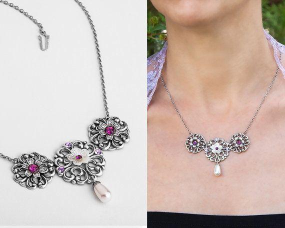 Purple statement necklace, Purple neklace, Purple #jewelry #necklace @EtsyMktgTool http://etsy.me/2fZBQqZ