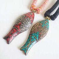 TNL440 Непал коврах ручной Big FISH ожерелье Тибетский Этнические Ожерелья