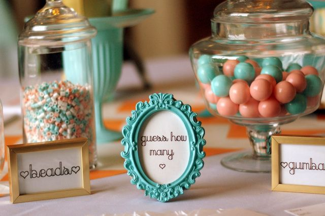 Photo 1 of 33: Coral and Aqua / Baby Shower/Sip & See Its a Girl - Coral & Aqua Baby Shower | Catch My Party