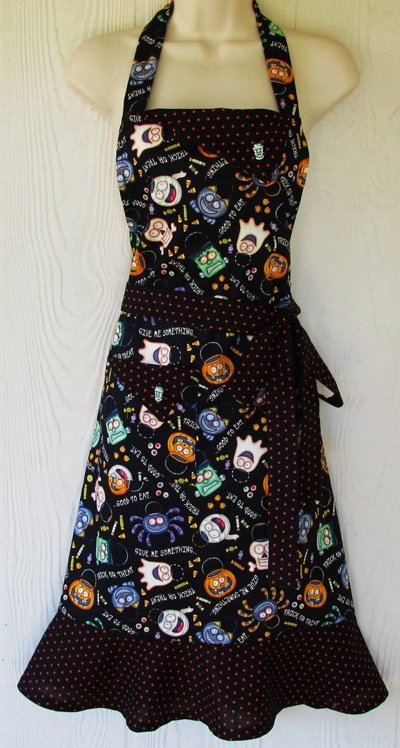 Halloween Apron Spooky Halloween Bags Retro Style by KitschNStyle