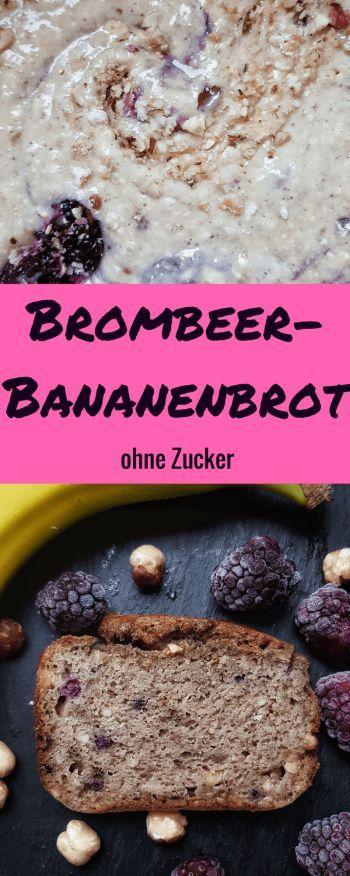 Brombeer-Banananbrot ohne Zucker: dieses gesundes und einfache Rezept für Bananenkuchen ist nur mit Beeren, Banane und Apfelmus gesüßt! Es schmeckt sogar zum Frühstück.    #zuckerfrei #ohnezucker #rezepteohnezucker #bananenbrot #bananabread #zuckerfreibacken #rührkuchen