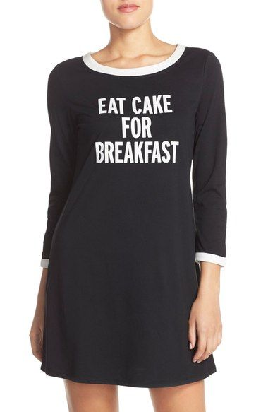 Size L kate spade new york 'eat cake for breakfast' graphic sleepshirt available at #Nordstrom