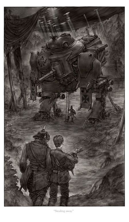 Really cool illustration of a 'clanker', a steam-powered walking battle tank from Scott Westerfeld's young adult steampunk novel 'Leviathan'...set during the years leading up to World War I. 'Leviathan' and its sequels 'Behemoth' and 'Goliath' are great reads, with likable characters and plenty of action and adventure, plus a good bit of education on the European politics of the early 20th century.