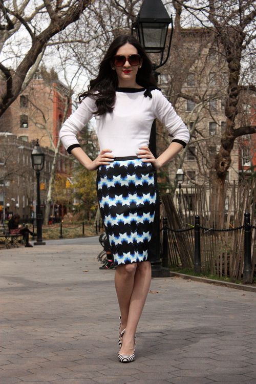 Chic of the Week: Deniz's Law School Style. Pairing geometric printed skit with striped shoes.