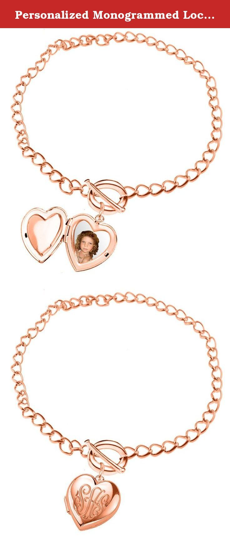 "Personalized Monogrammed Locket Bracelet (Order Any Initials) (7 Inches, 24k Rose Gold Overlay). Order your initials and it will be hand engraved on locket with yellow gold, rose gold or rhodium overlay. Locket opens and holds 2 photos. Locket is about 0.8"" long. Initials measures almost 0.8"" wide. Comes with toggle link chain. Choose bracelet length. How to order: Option1: Send us your desired initials using ""Note"" section at the time of the checkout Option 2: email us all details with..."