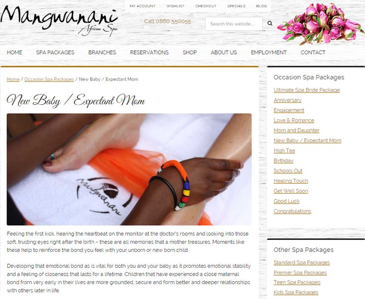 New Baby / Expectant Mom Package; Web page to promote Special Event Celebration package for Mangwanani African Day Spa (South Africa) Need similar (or other copywriting/web content) work done? Contact me - darrell@wordtiffie.co.za #wordtiffie