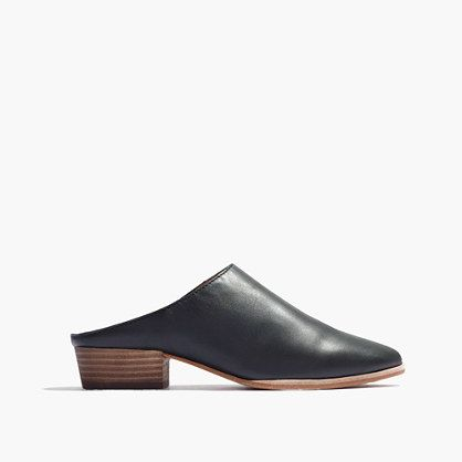 "Sleek and simple, this slip-on mule has an oh-so-walkable stacked heel. Inspired by luxury shoemakers, this effortless shoe is made of rich leather—right down to the easy-to-break-in soles. When you select your size, ""H"" equals a half size. <ul><li>1 1/4"" heel.</li><li>Leather upper, lining and sole.</li><li>Import.</li></ul>"