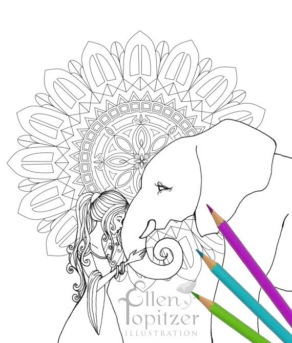 a coloring page for the elephant lover in all of us this is a whimsical - Coloring Page Elephant Design
