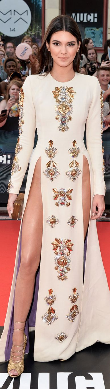 Kendall Jenner (age 18) in a Fausto Puglisi Fall 2013 white embellished thigh slit dress at the 2014 MuchMusic Video Awards in Toronto