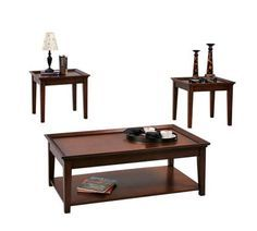 Encore Tobacco Wood 3-in-1 Pack Coffee Table Set