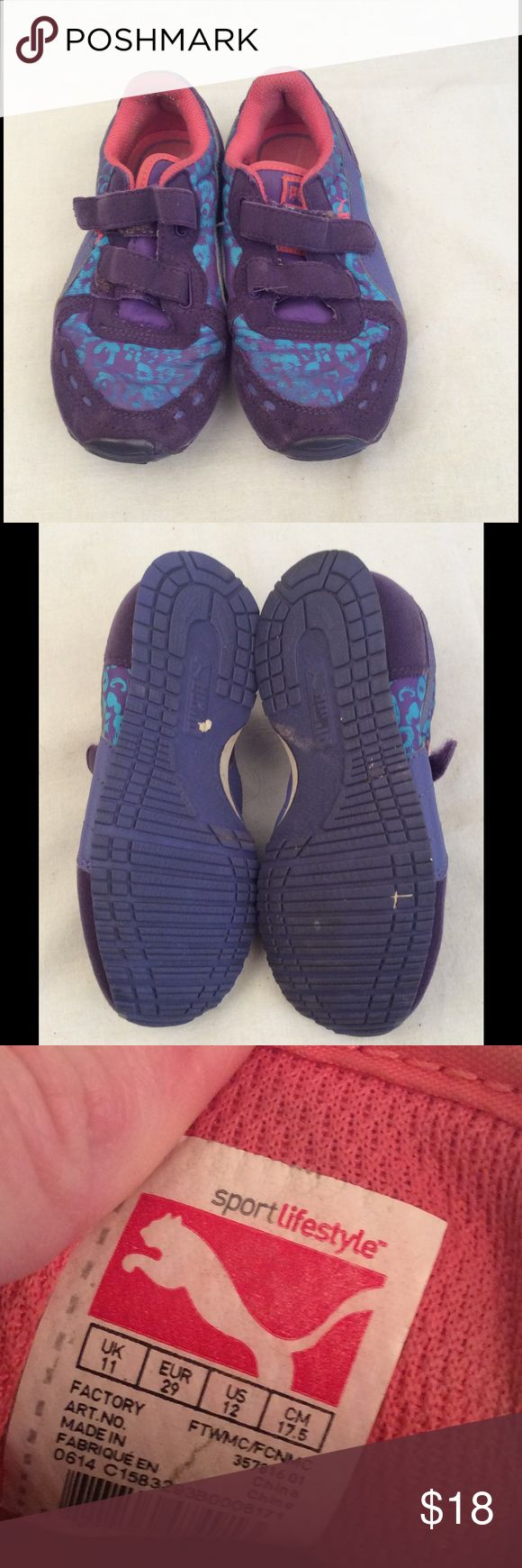 Girls Puma Shoes Girls Puma Shoes size 11 blue and purple in color and Velcro closure in great condition and comes from a smoke free home. ✅Reasonable offers considered. ✅Bundle for a discount & save on shipping ✅Same/next day shipping. Puma Shoes Sneakers