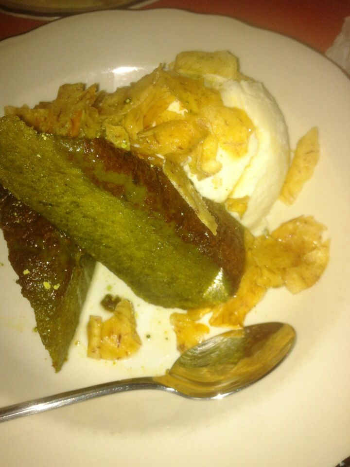 Dessert: First dessert all week! Green tea cake with ginger ice cream. This was worth the wait.