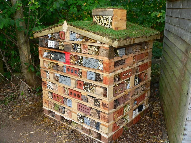 Recycle miss rayner's Insect hotel, into. 1 permanent one. Like the greenroof on this one!