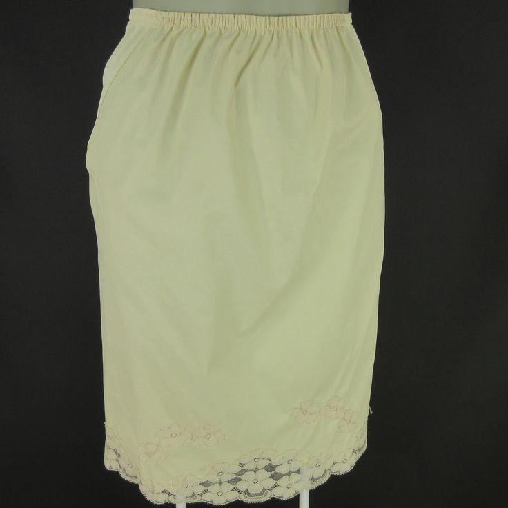 Baronet Womens Half Slip Small Vintage Beige Nylon Floral Lace Side Gussets #Baronet #HalfSlips