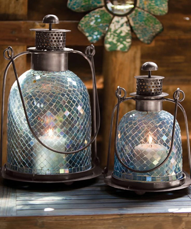 Cape Craftsmen Set Of 2 Blue Shimmer Mosaic Iridescent Glass Indoor/Outdoor  Lanterns Candle Holders