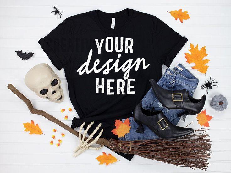 Mockup Bella Canvas 3001 Black T Shirt Halloween Skull Etsy Funny Halloween Shirt Halloween Tshirts Halloween Gifts