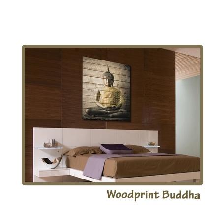 Woodprint Buddha (verkrijgbaar via Claessens Styling)