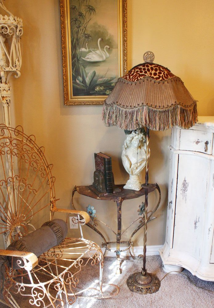 Incredible French Antique Floor Lamp Unbelievable Shade Fringe Flapper Sconces