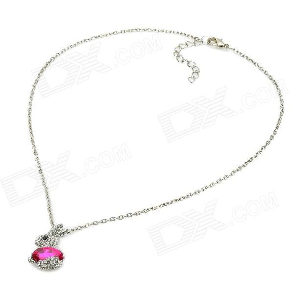 Cute Rabbit Style Rhinestone Pendant Necklace - Pink + Silver