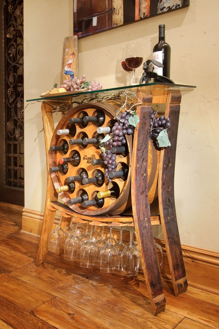 The Wine Barrel Table Holds 18 Bottles And 15 Gles Stylishly Bring Memories Of Country Into Your Home Made In Usa From Recycled