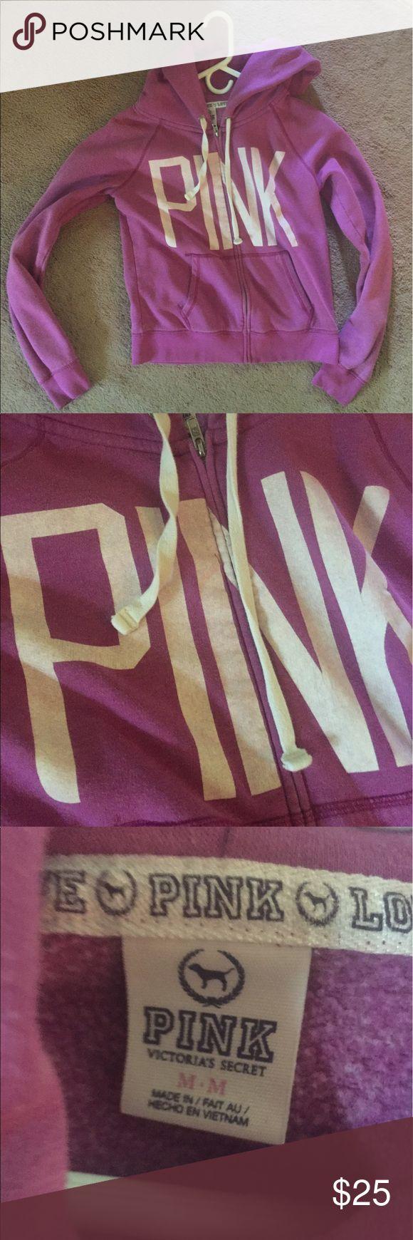 PINK zip up hoodie. PINK zip-up hoodie in good condition. PINK Tops Sweatshirts & Hoodies