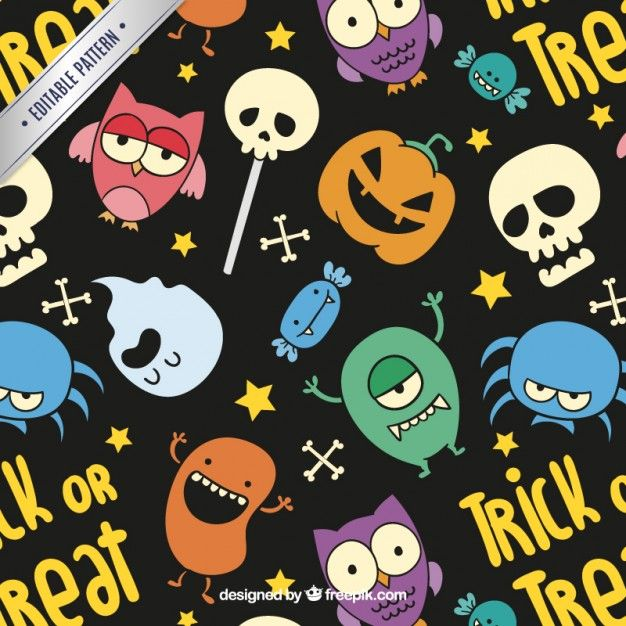 Free vector Colorful halloween pattern in cartoon style #14223