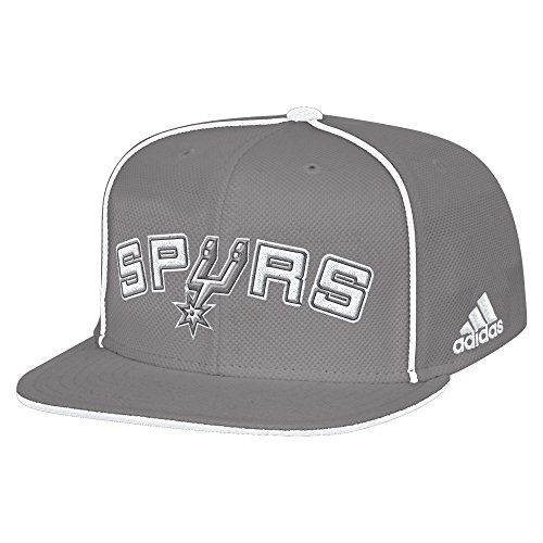 NBA San Antonio Spurs Men's Fanwear Team Flat Brim Snapback Cap, One Size, Grey:   Officially licensed fanwear cap by adidas lets you show your team pride loud and proud. This cap features a snapback closure to ensure a great fit an embroidered team name across the front. This hat is perfect to match up with your favorite jersey or team tee.