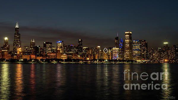 Chicago City At Night Lake Michigan Skyline Canvas Fine Art Poster Print