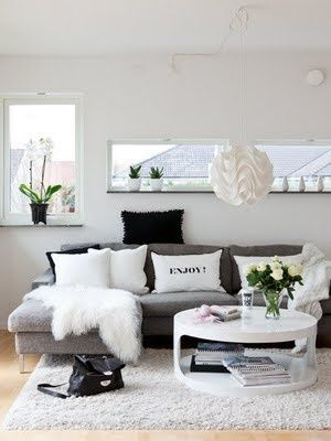 Black, white and grey, could throw in red or yellow or green accents (pillows etc.)
