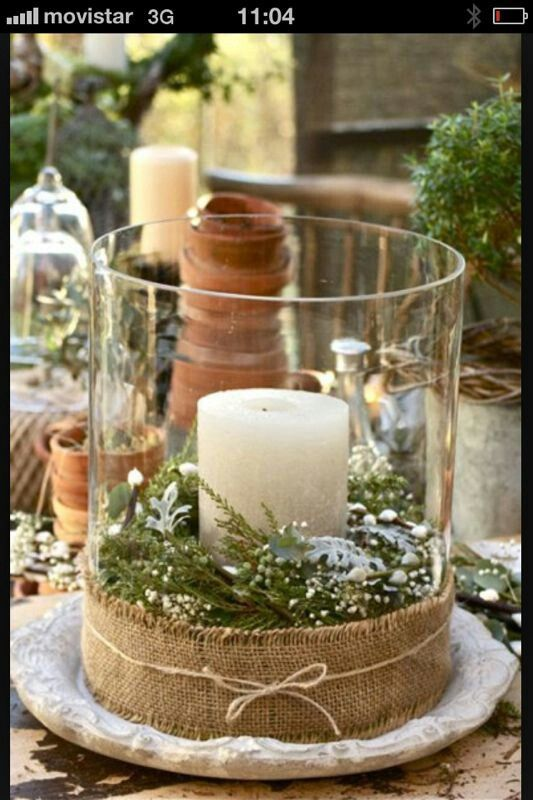 ~ Candles, springs/fern of your choice, burlap ~ Simple and yet so pretty