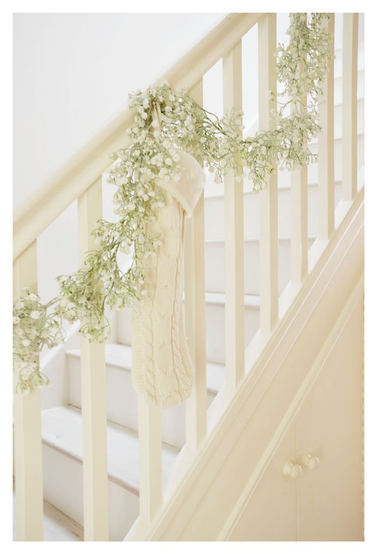 Stair Systems | simple white Christmas decor on the stair railing | Bayer Built Woodworks