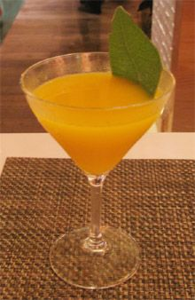 Kissyomama      1 1/2 oz. Cazadores Reposado tequila  1/2 oz. Domaine de Canton  1 oz. mango puree  2 drops El Yucateco Green Hot Sauce  4 Thai basil leaves 3/4 oz. lime juice 1/4 oz. simple syrup   Shake all ingredients (including three basil leaves) with ice and strain in martini glass. Garnish with remaining Thai basil leaf.