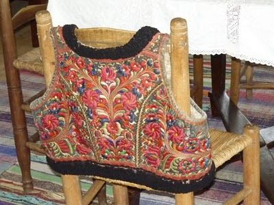 Hand embroidered sheepskin vest, typical of the Paloc area in North Eastern Hungary. This one was on display at Skanzen